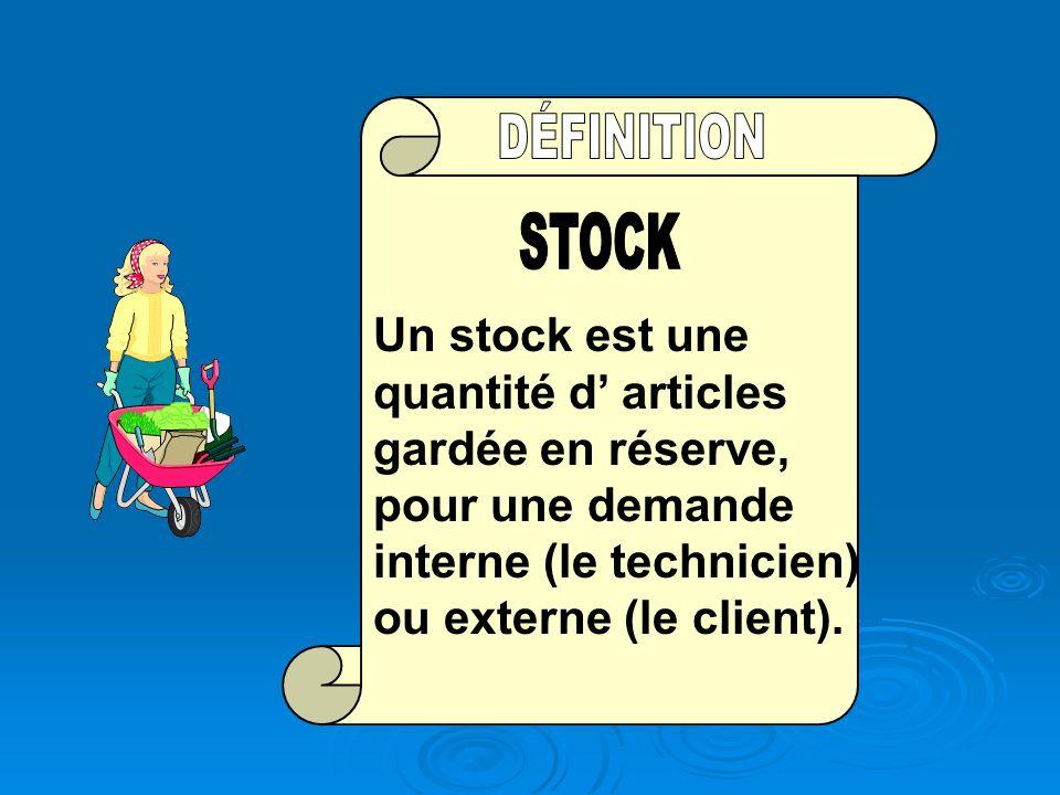 STOCK Un stock est une quantité d' articles gardée en réserve, pour une demande interne (le technicien) ou externe (le client).