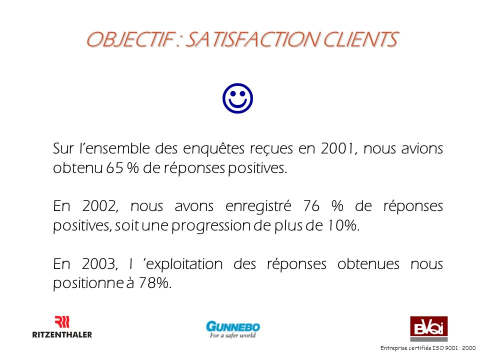 OBJECTIF : SATISFACTION CLIENTS