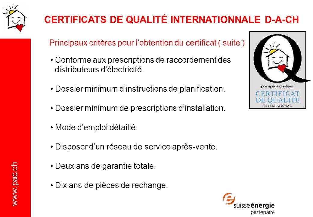 CERTIFICATS DE QUALITÉ INTERNATIONNALE D-A-CH