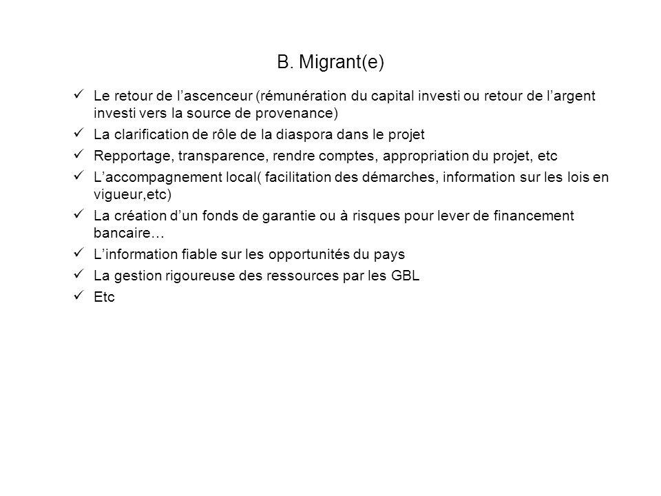 B. Migrant(e) Le retour de l'ascenceur (rémunération du capital investi ou retour de l'argent investi vers la source de provenance)