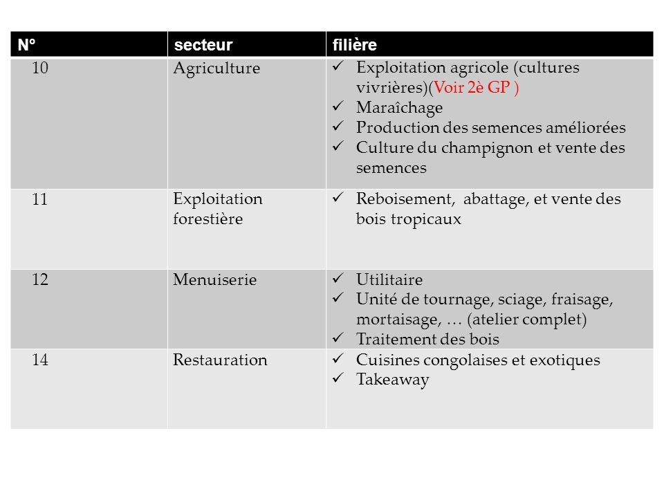 N° secteur. filière. 10. Agriculture. Exploitation agricole (cultures vivrières)(Voir 2è GP ) Maraîchage.