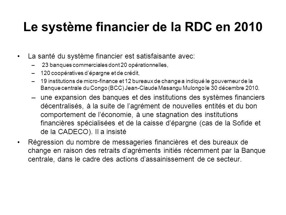 Le système financier de la RDC en 2010