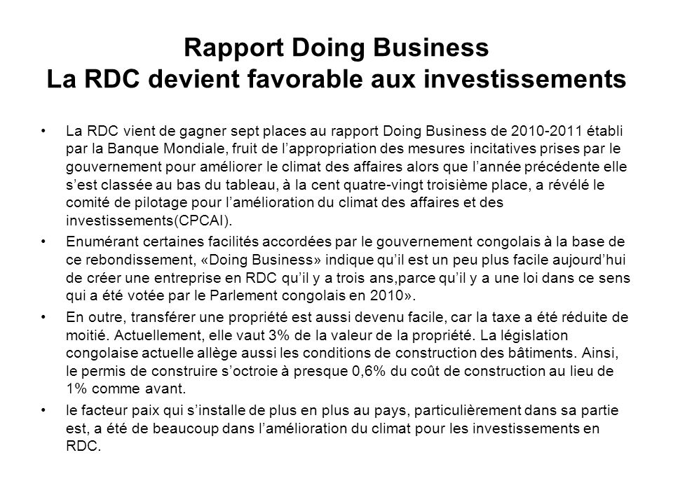 Rapport Doing Business La RDC devient favorable aux investissements