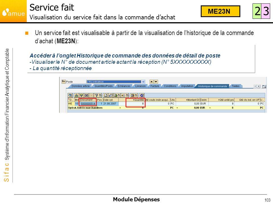 Service fait Visualisation du service fait dans la commande d'achat