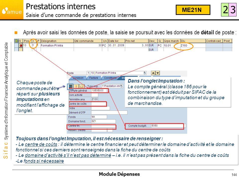 Prestations internes Saisie d'une commande de prestations internes