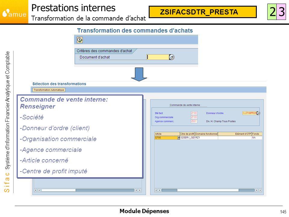 Prestations internes Transformation de la commande d'achat