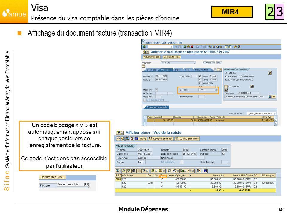 Visa Présence du visa comptable dans les pièces d'origine