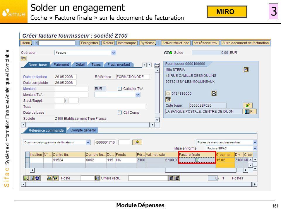 Solder un engagement Coche « Facture finale » sur le document de facturation