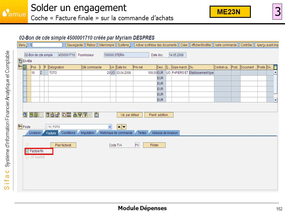 Solder un engagement Coche « Facture finale » sur la commande d'achats