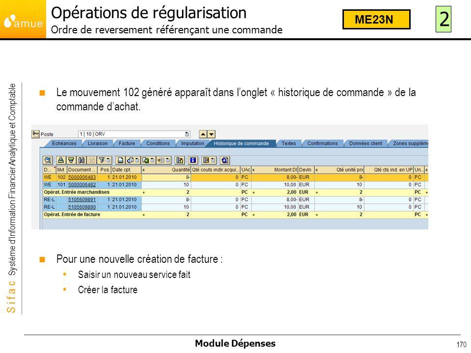 Opérations de régularisation Ordre de reversement référençant une commande