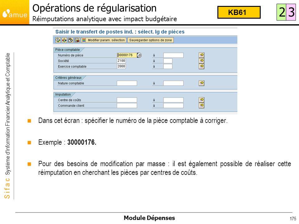 Opérations de régularisation Réimputations analytique avec impact budgétaire