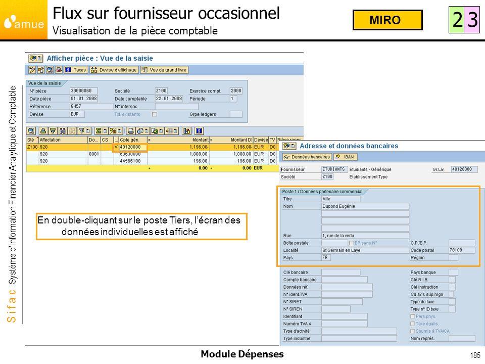 Flux sur fournisseur occasionnel Visualisation de la pièce comptable