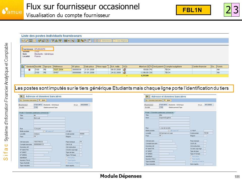 Flux sur fournisseur occasionnel Visualisation du compte fournisseur