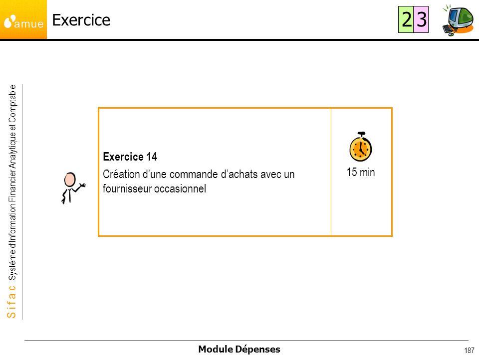 Exercice 2. 3. 15 min. Exercice 14. Création d'une commande d'achats avec un fournisseur occasionnel.