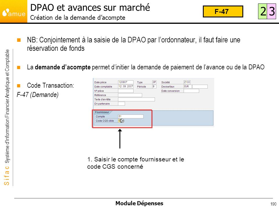 DPAO et avances sur marché Création de la demande d'acompte
