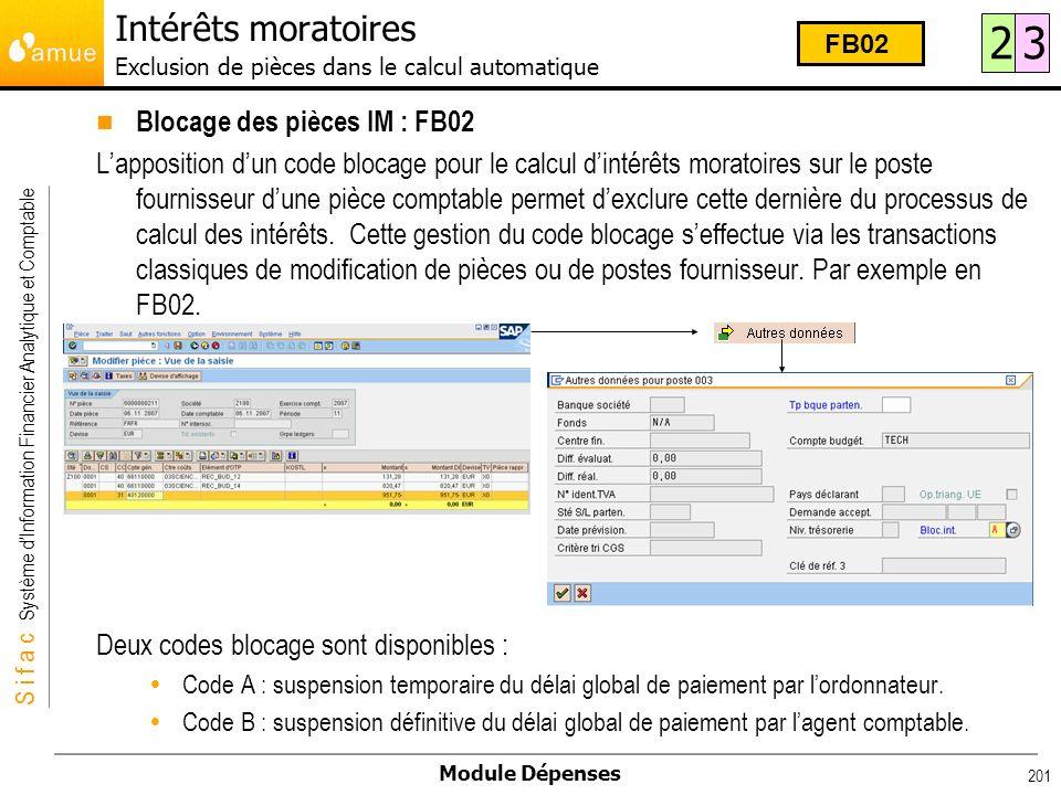 Intérêts moratoires Exclusion de pièces dans le calcul automatique