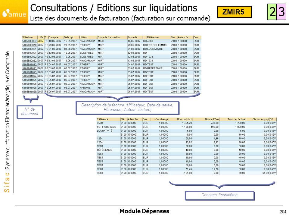 Consultations / Editions sur liquidations Liste des documents de facturation (facturation sur commande)
