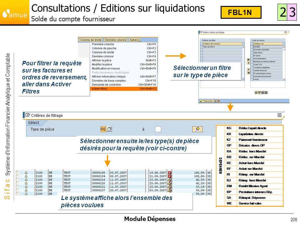 Consultations / Editions sur liquidations Solde du compte fournisseur