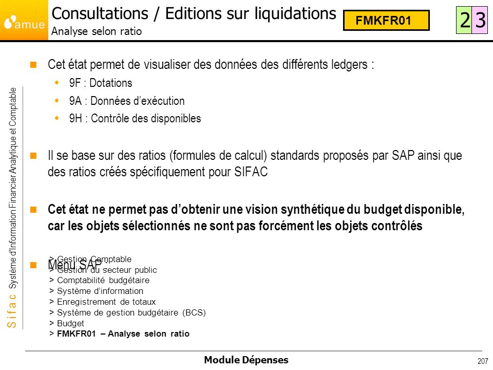 Consultations / Editions sur liquidations Analyse selon ratio