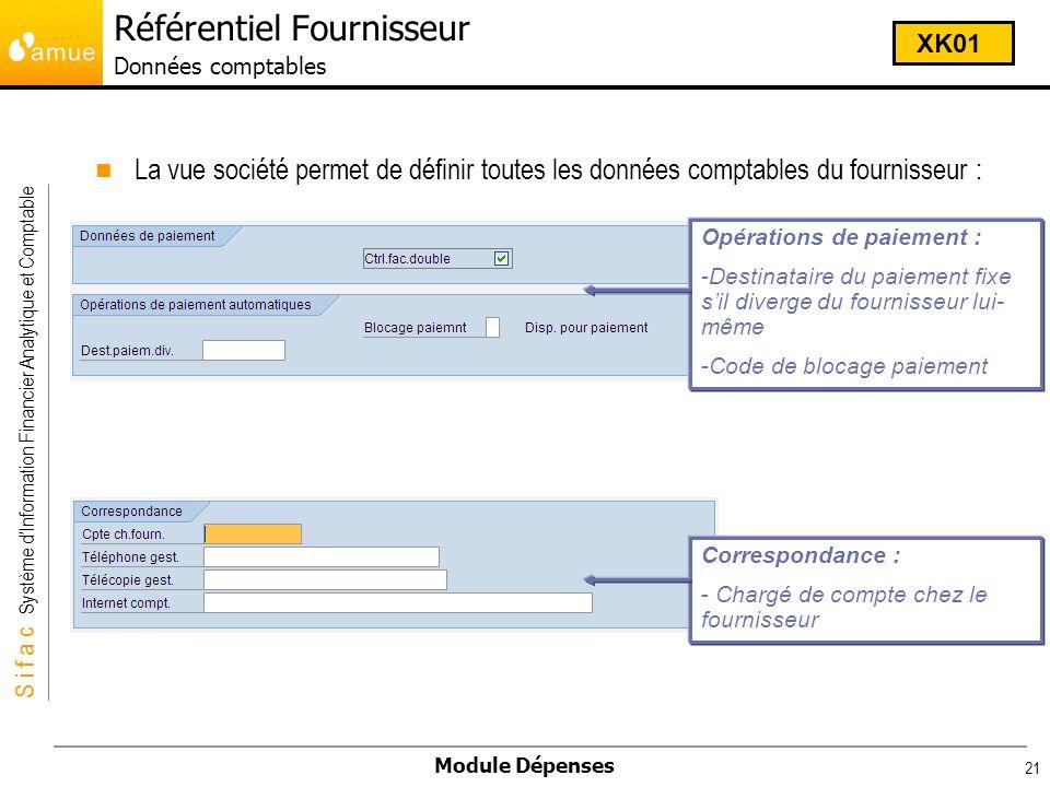 Référentiel Fournisseur Données comptables