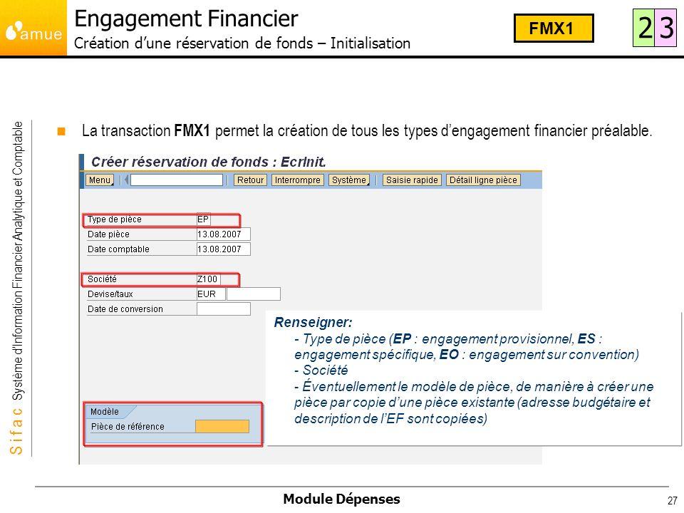 Engagement Financier Création d'une réservation de fonds – Initialisation