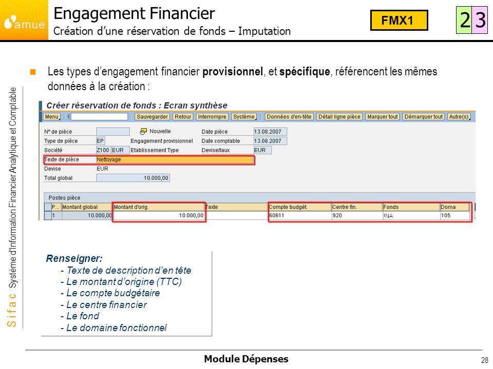 Engagement Financier Création d'une réservation de fonds – Imputation