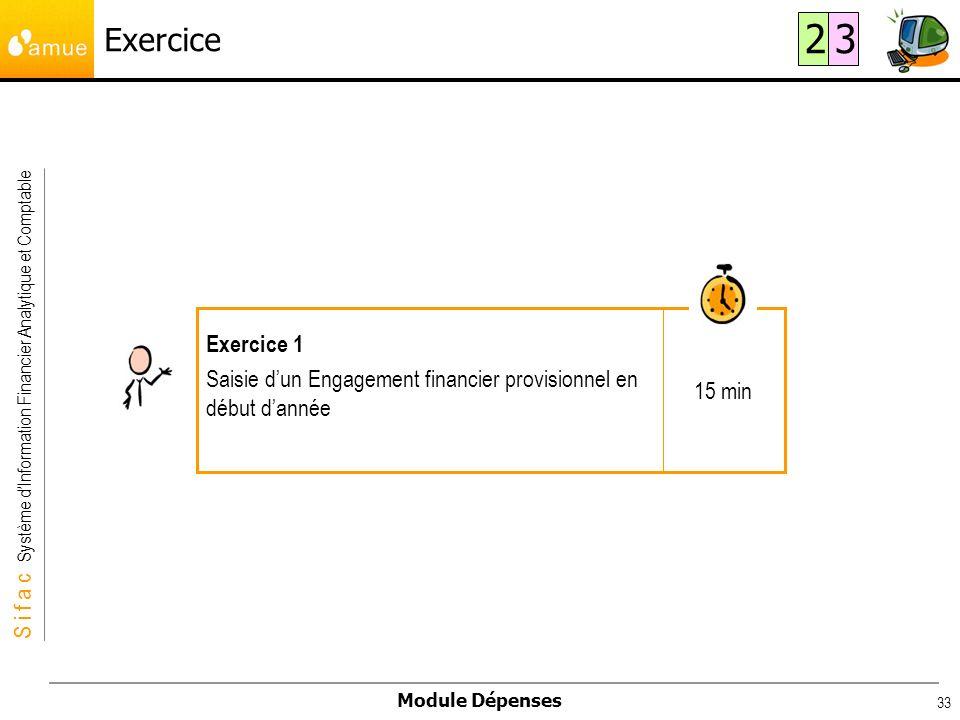 Exercice 2 3 15 min Exercice 1 Saisie d'un Engagement financier provisionnel en début d'année