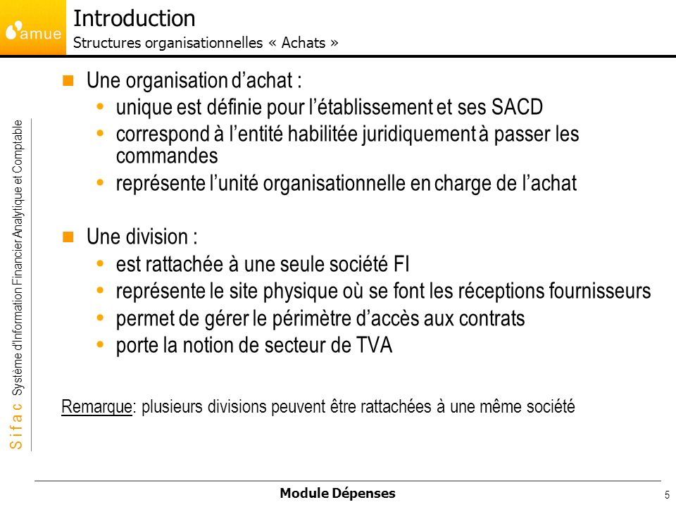 Introduction Structures organisationnelles « Achats »