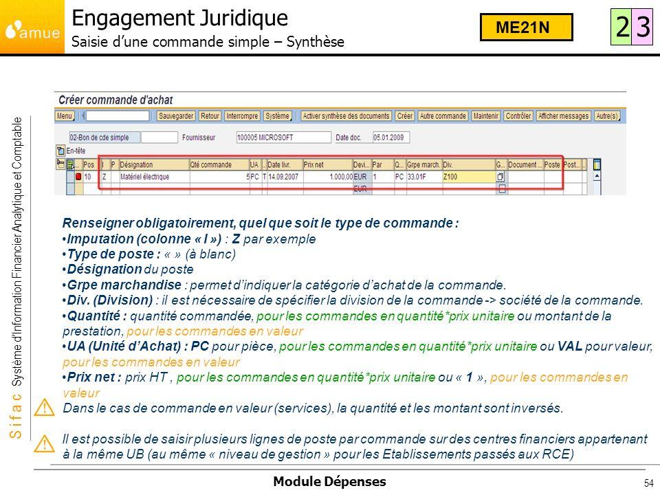 Engagement Juridique Saisie d'une commande simple – Synthèse
