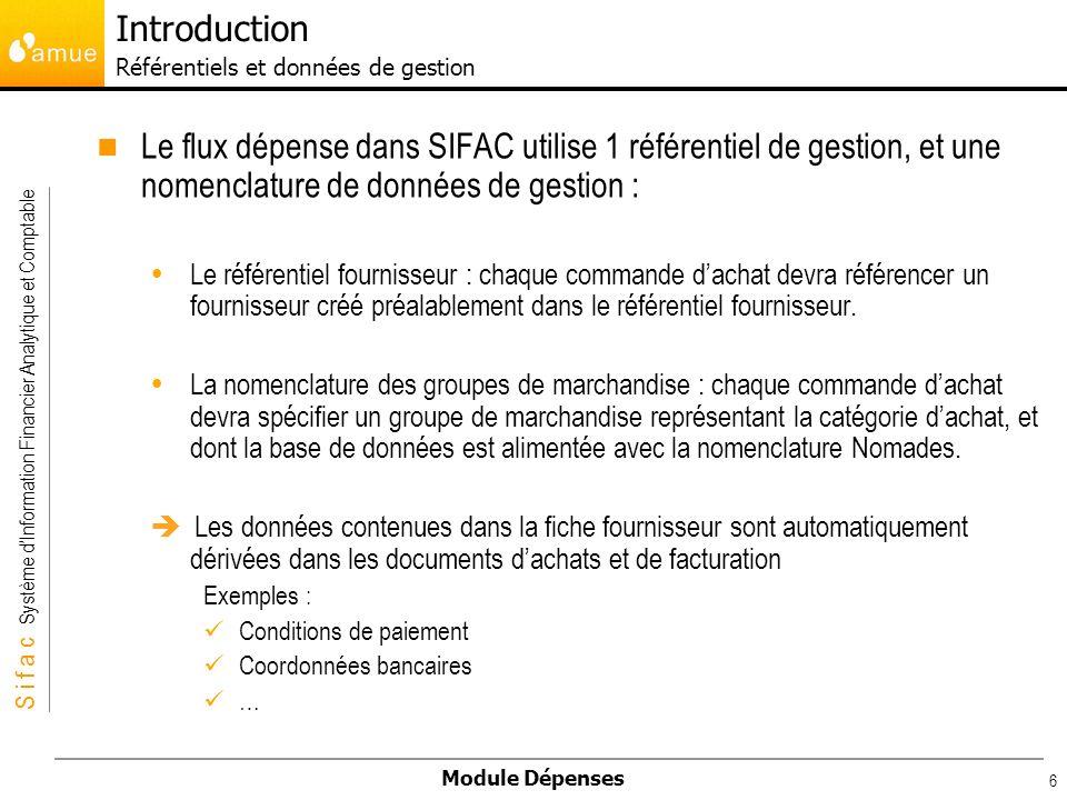 Introduction Référentiels et données de gestion