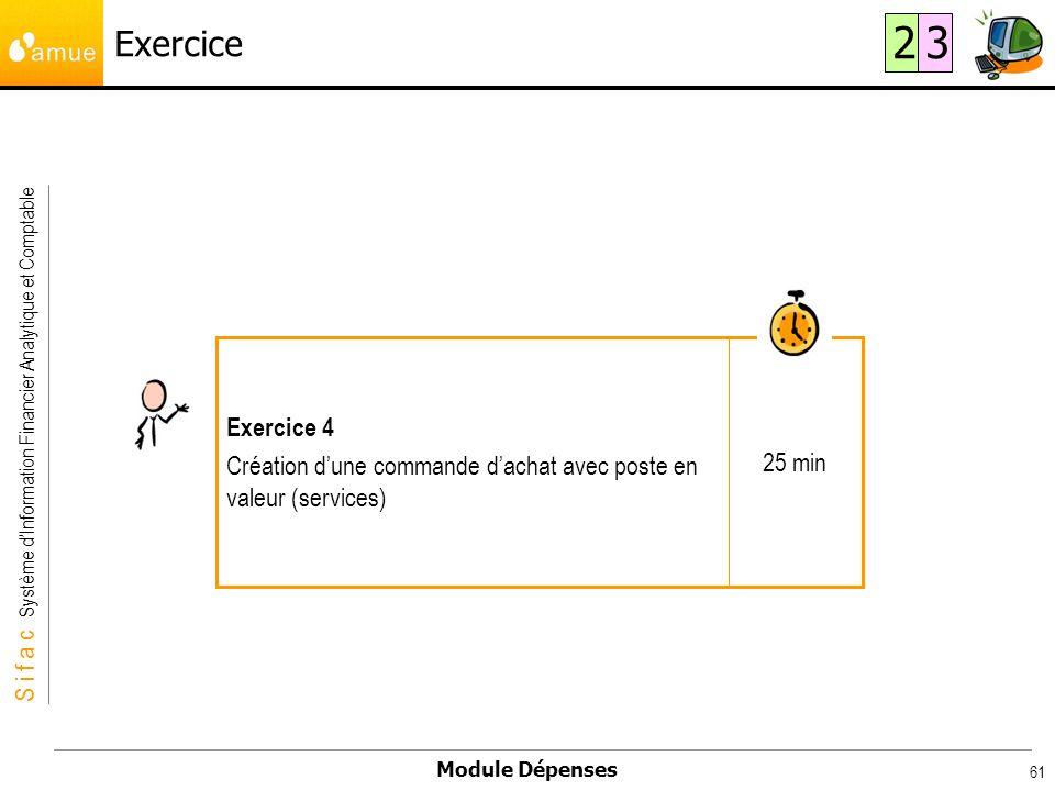 Exercice 2 3 25 min Exercice 4 Création d'une commande d'achat avec poste en valeur (services)