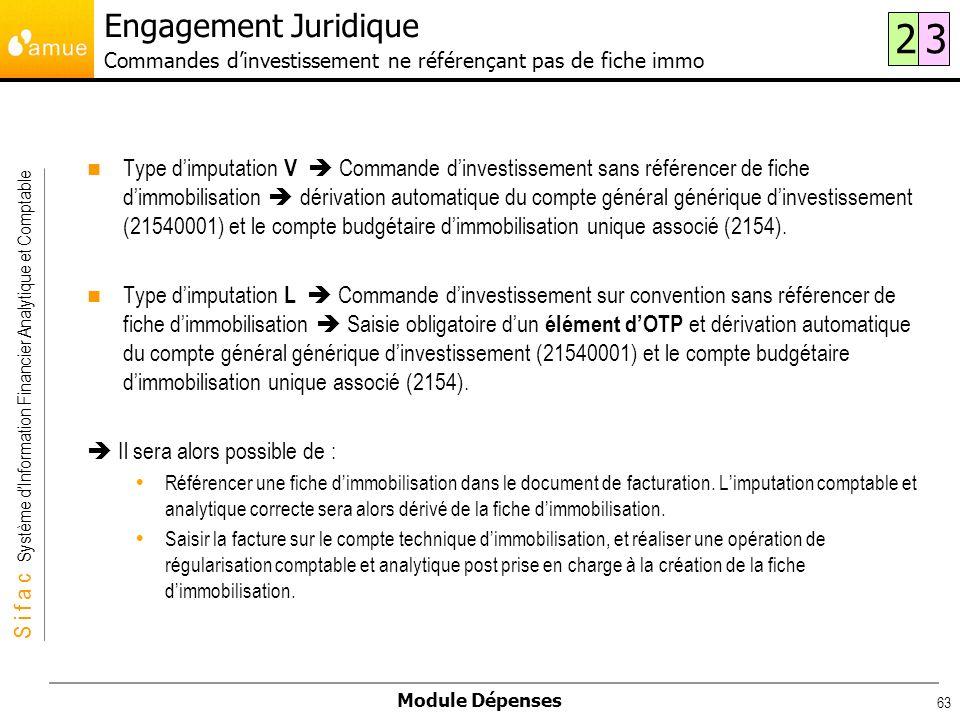 Engagement Juridique Commandes d'investissement ne référençant pas de fiche immo