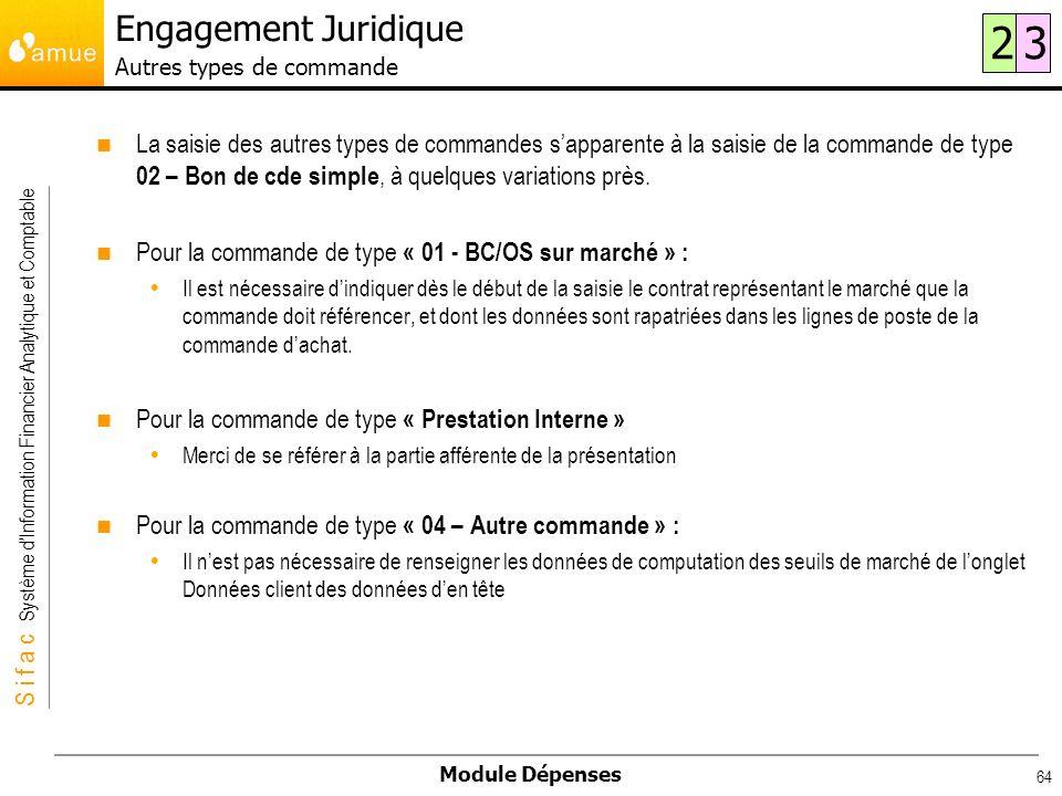 Engagement Juridique Autres types de commande