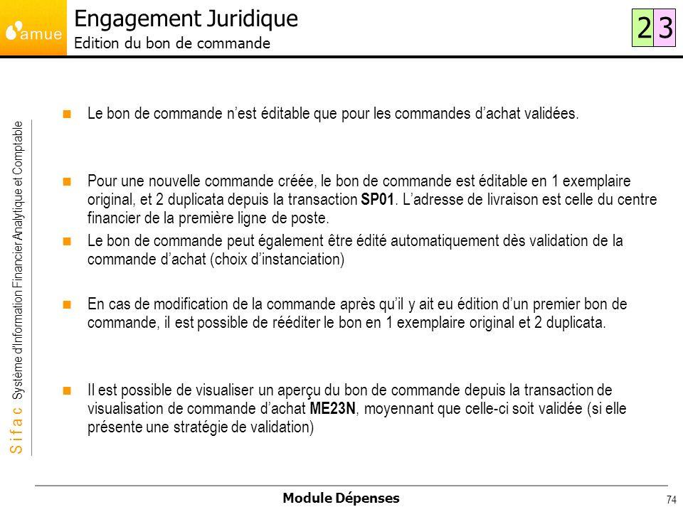 Engagement Juridique Edition du bon de commande