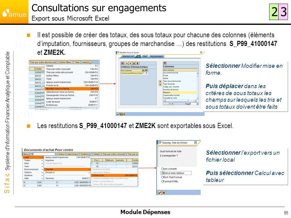 Consultations sur engagements Export sous Microsoft Excel