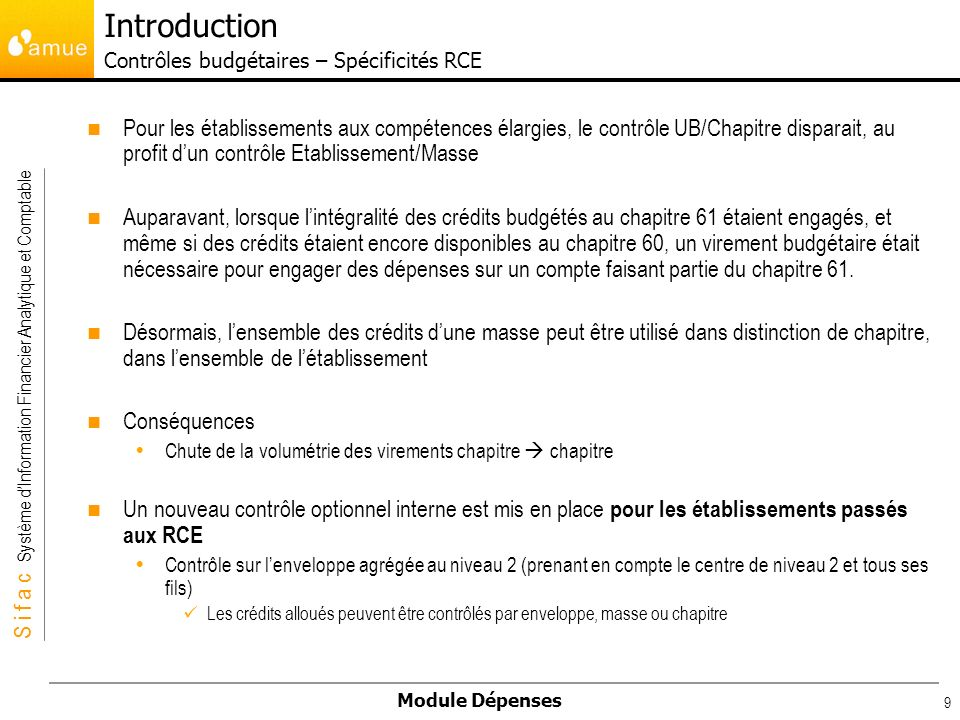 Introduction Contrôles budgétaires – Spécificités RCE