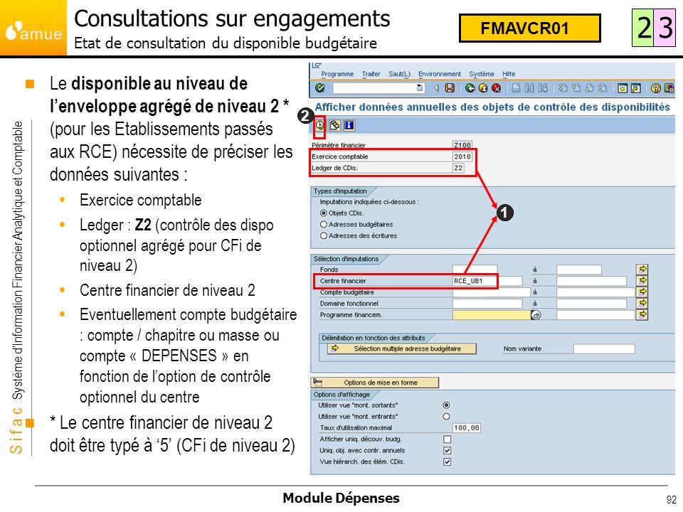 Consultations sur engagements Etat de consultation du disponible budgétaire