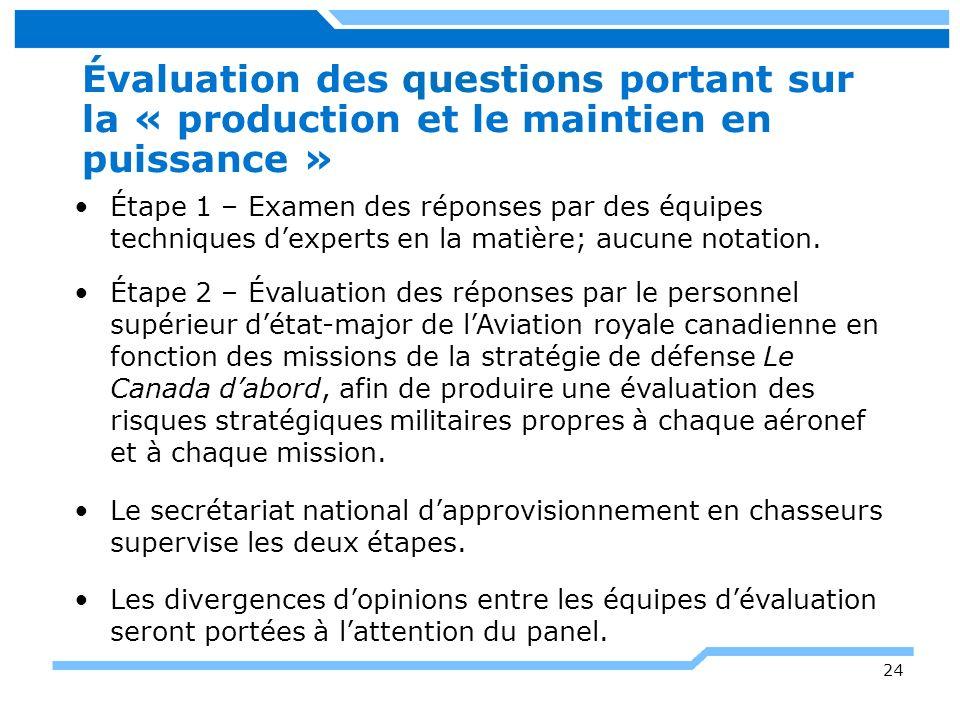 Évaluation des questions portant sur la « production et le maintien en puissance »