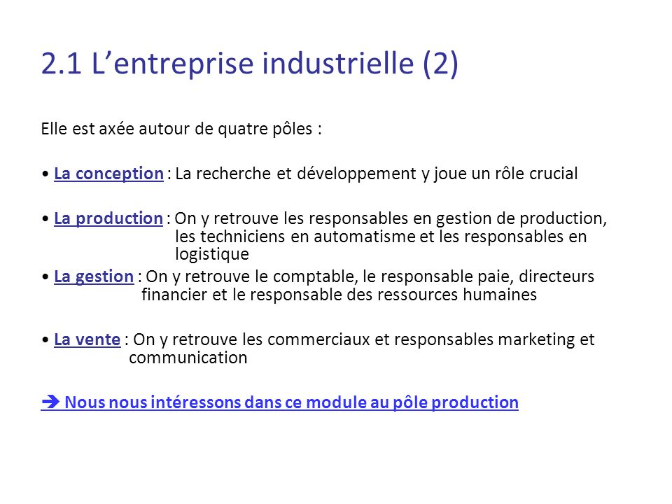2.1 L'entreprise industrielle (2)