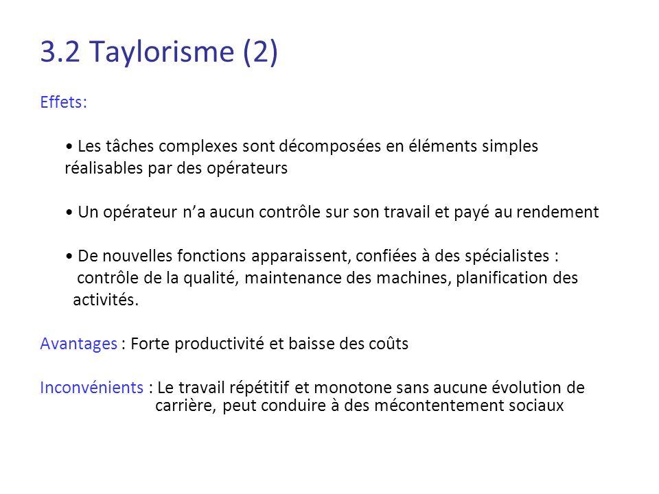 3.2 Taylorisme (2) Effets: • Les tâches complexes sont décomposées en éléments simples. réalisables par des opérateurs.