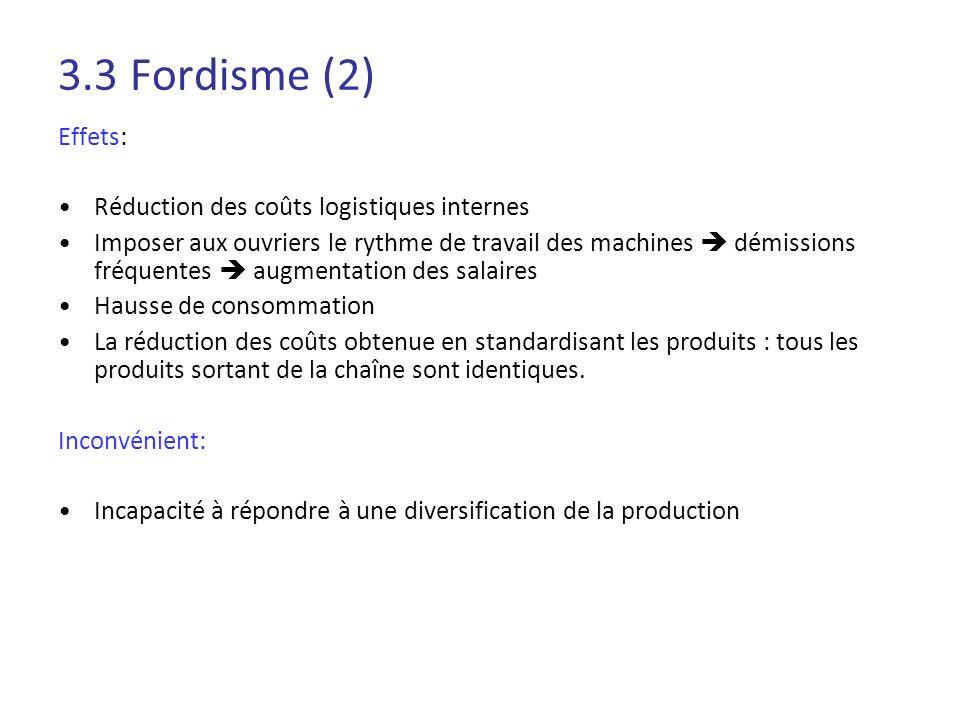 3.3 Fordisme (2) Effets: Réduction des coûts logistiques internes