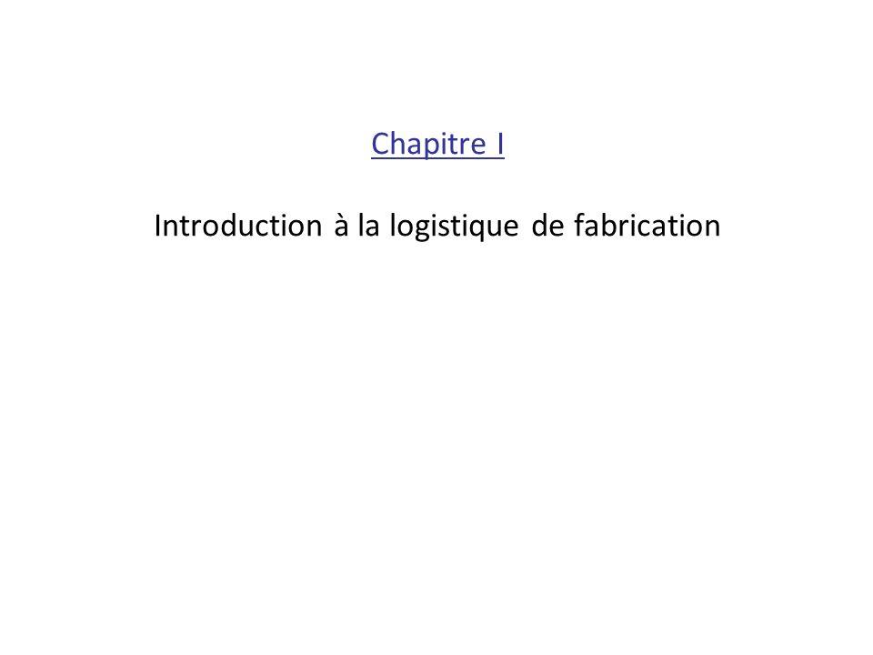 Chapitre I Introduction à la logistique de fabrication