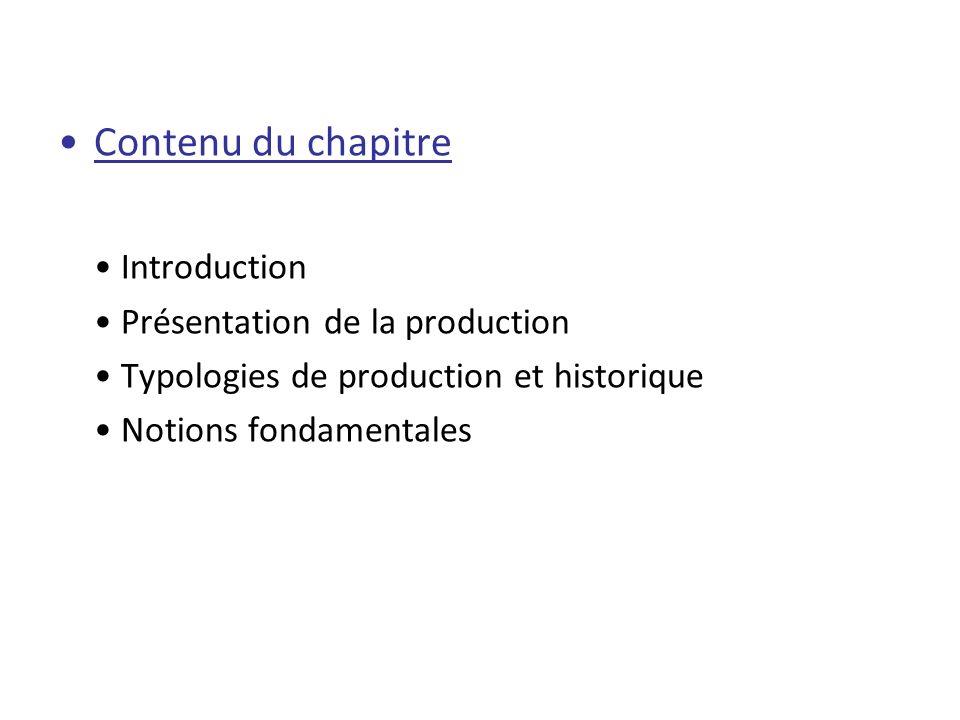 Contenu du chapitre • Introduction • Présentation de la production