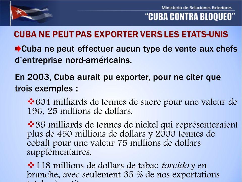 CUBA NE PEUT PAS EXPORTER VERS LES ETATS-UNIS