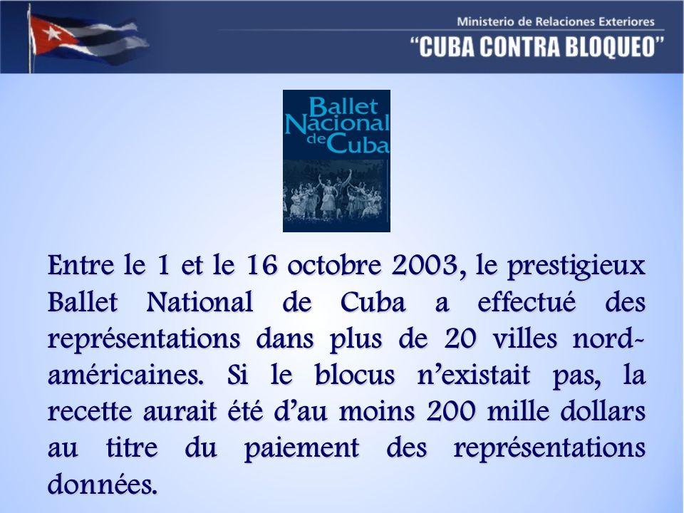 Entre le 1 et le 16 octobre 2003, le prestigieux Ballet National de Cuba a effectué des représentations dans plus de 20 villes nord-américaines.
