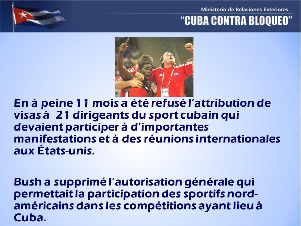 En à peine 11 mois a été refusé l'attribution de visas à 21 dirigeants du sport cubain qui devaient participer à d'importantes manifestations et à des réunions internationales aux États-unis.