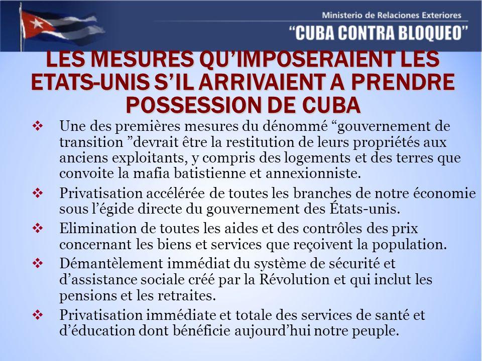 LES MESURES QU'IMPOSERAIENT LES ETATS-UNIS S'IL ARRIVAIENT A PRENDRE POSSESSION DE CUBA