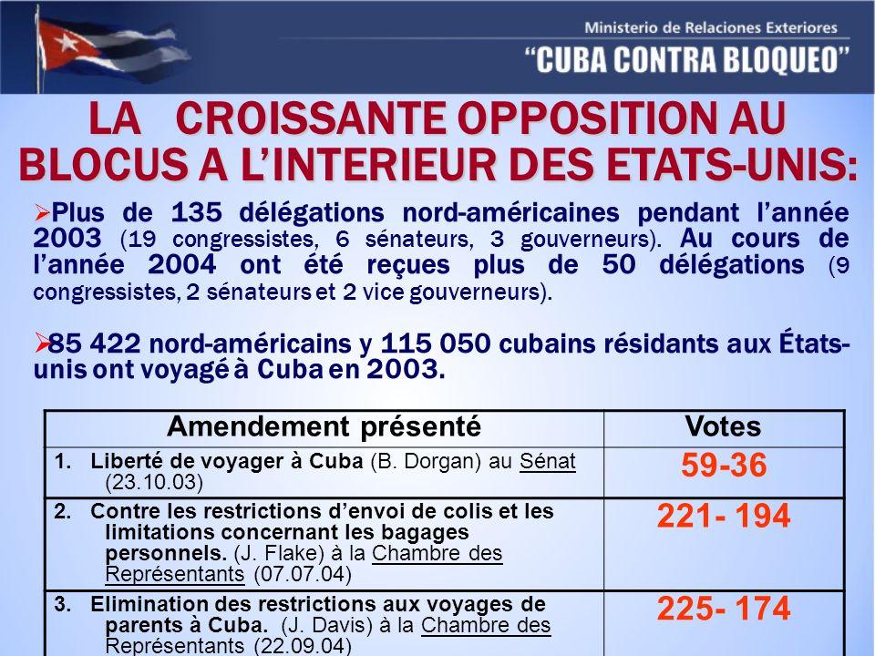 LA CROISSANTE OPPOSITION AU BLOCUS A L'INTERIEUR DES ETATS-UNIS: