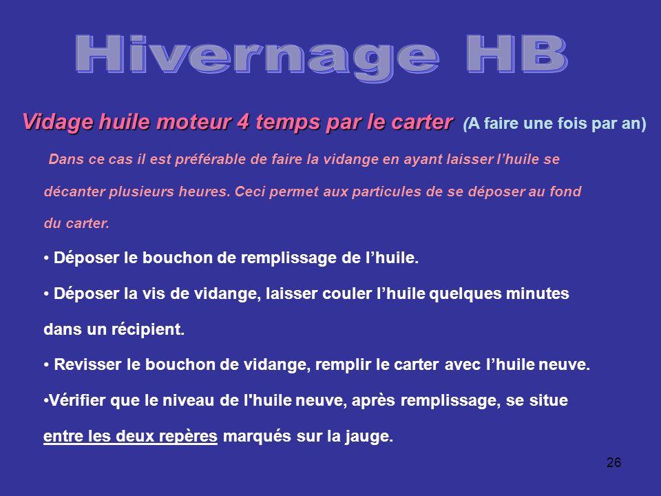 Hivernage HB Vidage huile moteur 4 temps par le carter (A faire une fois par an)