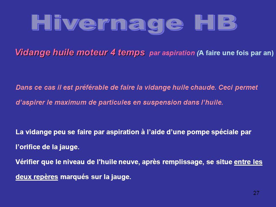 Hivernage HB Vidange huile moteur 4 temps par aspiration (A faire une fois par an)